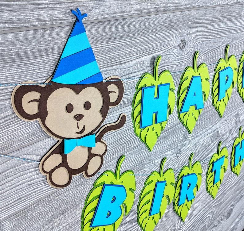 Cheeky Monkey or Jungle Happy Birthday Banner: First Birthday image 0