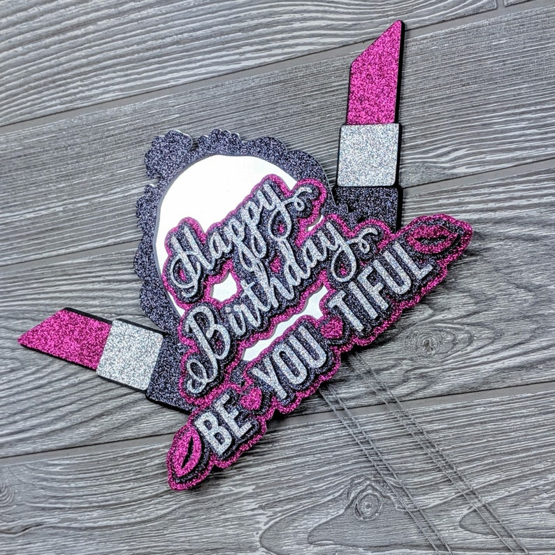 Makeup Happy Birthday Cake Topper image 0