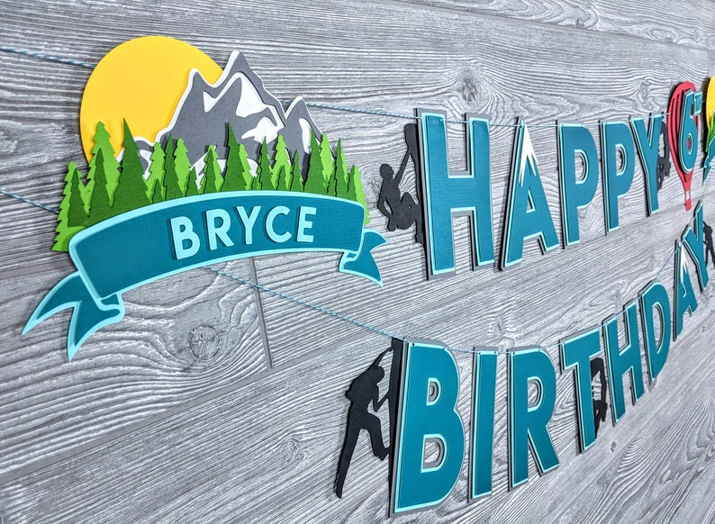 Rock Climbing Mountain & Adventure Happy Birthday Banner image 0