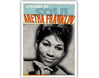 Poster/Print/Wall Art/Wand Deko - Legends of Soul - Al Green - Marvin Gaye - Otis Redding - Aretha Franklin - Soul Music - Soul - Legends