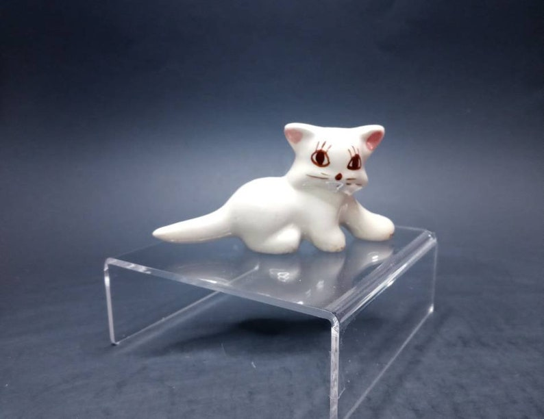 Adorable Kitty Cat Kitten Figurine with Pink Bow