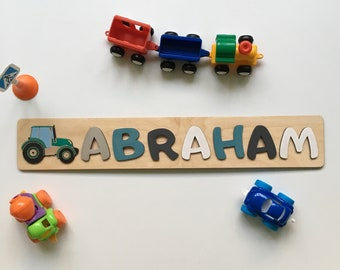 Wood Name Puzzle With Farm Tractor