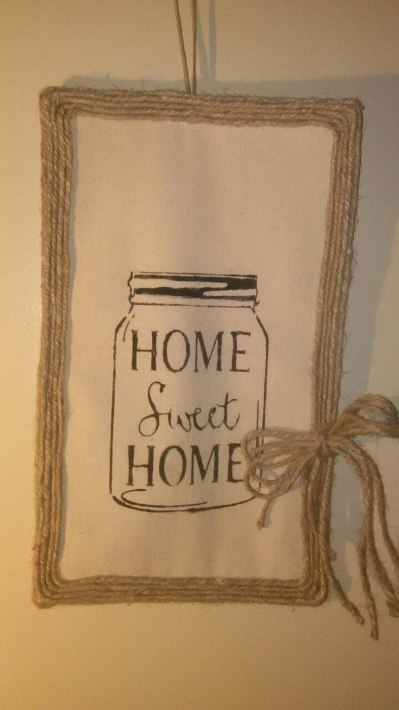 . FARMHOUSE Home Sweet Home canvas and jute farmhouse wall decor hand  painted homemade house warming family gift
