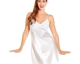 8a203d4a356 Jane Lace Trim Short Satin Nightdress - Wimbledon White JALTSN WW