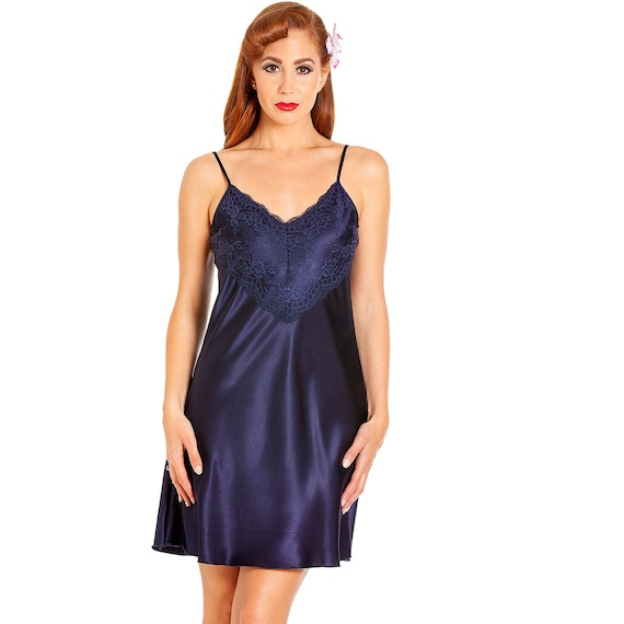/'Calla Lily/' Floral Print Silky Satin Nightdress by Cottonreal Ladies Chemise