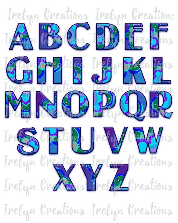 Cute Fun Mandala Flower Bubble Letters Alphabet Font Png Etsy