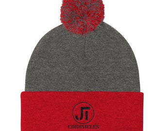 Jt Chronicles Pom Pom Embroidered Knit Hat