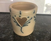 Maple City Pottery salt glazed stoneware Candle Votive Holder, hand made 1998, 3 1 4 quot tall x 3 quot wide, 3 Carved out Hearts, pretty