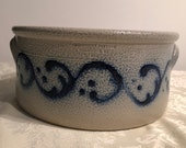 Vintage Wisconsin Pottery, Columbus WI 1993 salt glazed stoneware 8 quot crock, ears handles, beautiful Cobolt Blue swirls, dots, brown inside