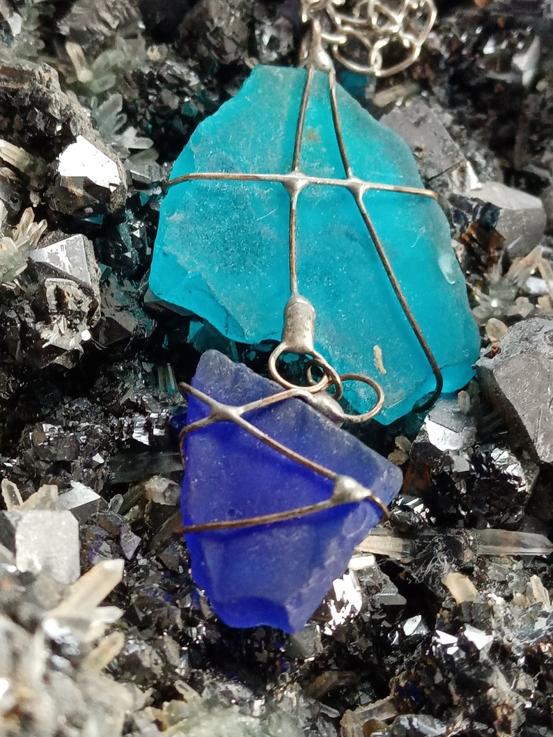 One Sea Glass Pendant Wire Wrapped Pendant Natural Gem Necklace +mineral fre Natural Mineral Gem Jewelry