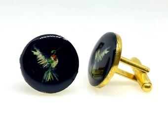 Men/'s cufflinks Anniversary Gift Gold Plated Cufflink Handmade Cuffinks Groomsmen Cufflink Classic Enamel Bird Cuff link Suit Cufflink