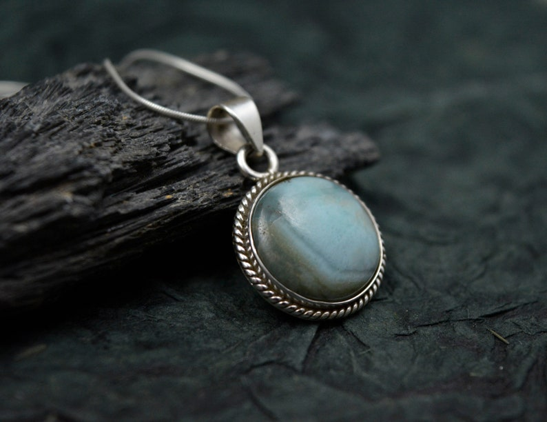 Handmade Larimar Pendant Best Quality Larimar Dainty Silver Necklace Genuine Round Larimar 925 Sterling Silver Pendant