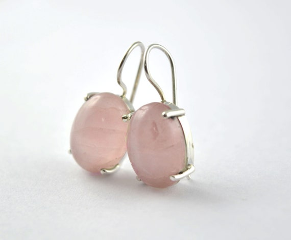 May Birthstone Mother/'s Day Gift Dangle Earring For Women Rose Quartz Gemstone Earring 925 Sterling Silver Handmade Jewelry