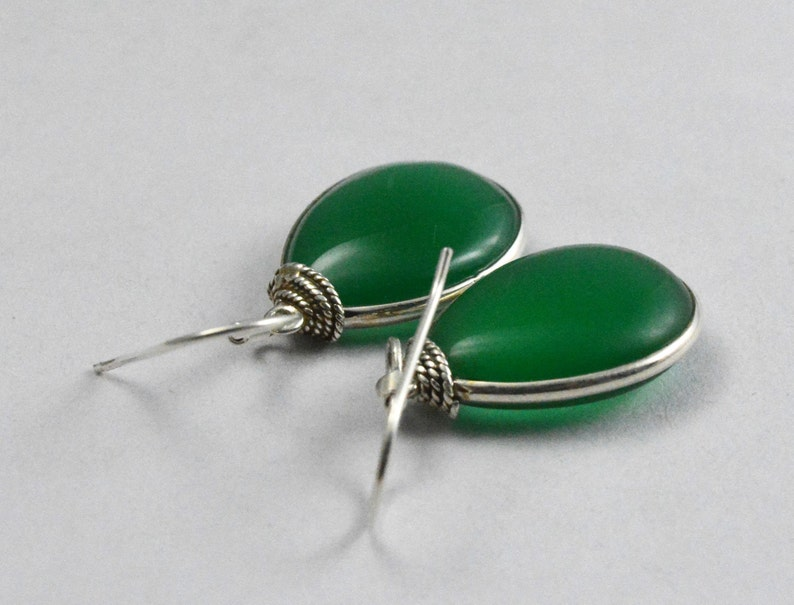 Gift For Her Green Onyx Earring Natural Green Onyx Pear 925 Sterling Silver Earrings For Women