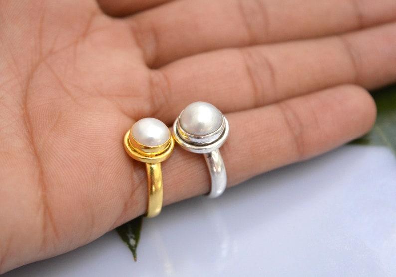 Mom Gift Freshwater Pearl 18k Gold Filled /& 925 Sterling Silver Ring June Birthstone Ring Birthday Gift Sister Gift Friend Gift