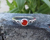 Carnelian Ring, 925 Sterling Silver, Gemstone Ring, Handmade Ring, Boho Ring, Dainty Ring, Carnelian Jewelry, Minimalist Ring Gift For Her