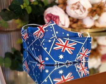 Australian Flag Face Masks / 3D Face Masks Australia / Aussie Flag 3D Face masks / Australia National Flag Origami Triple Layered Facemasks