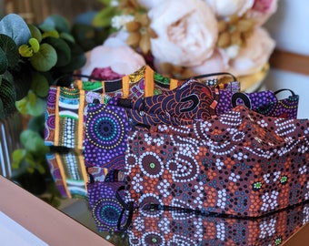 Indigenous Print Luxury Face Mask/ Aboriginal Art Facemask / Aboriginal 3D Face Mask Australia/ 3 Layer Face masks Outback Perth Face Masks