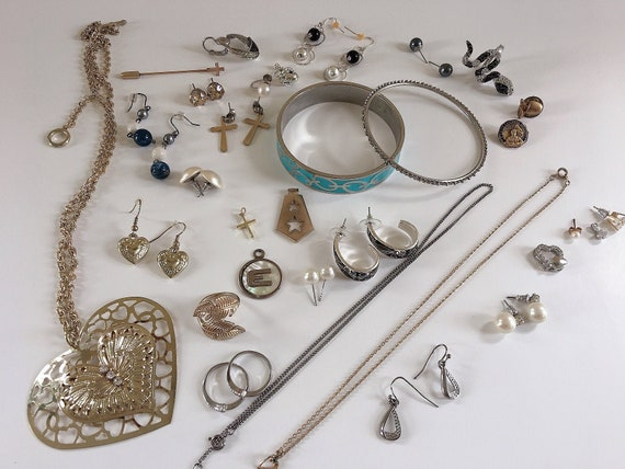 Vintage 44pc Jewelry Lot, Antique Jewelry for Craf