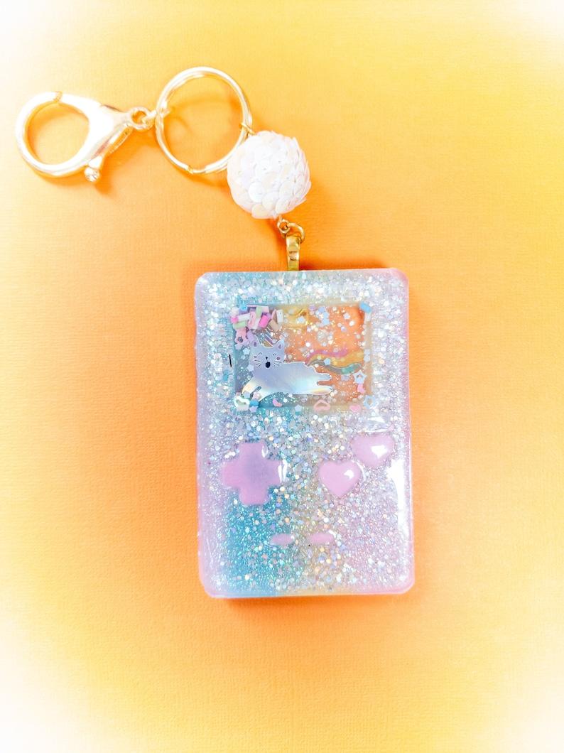 Gameboy Glitter Shaker Keychain