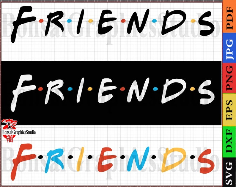 Friend SVG, Cricut  Font inspired by the art of friends Font SVG Vector -  Alphabet Eps, SVG, Silhouette, t-shirts, birthday