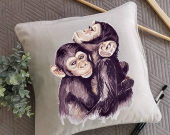 Dekoratives Kissen mit Affen/ Geschenk zum Muttertag/bemalter Kissenbezug/ gemalte Affenfamilie/  Muttertagsgeschenke/ Wohnzimmer Dekor