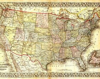 Vintage us map | Etsy