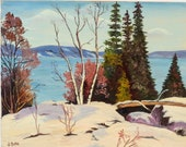 Vintage painting, Canadian winter scene, signed J. Dicks