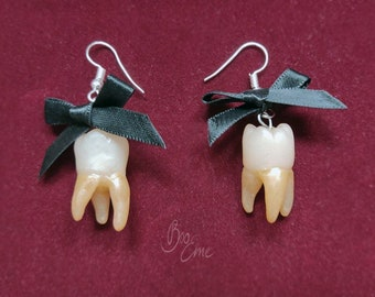 Fake Human Teeth With Bow Earrings - Realistic Polymer Clay Handmade Gothic Jewelry