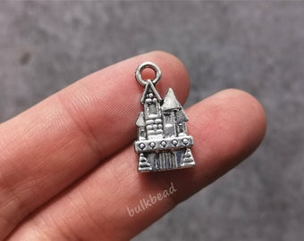 6 x Tibetan Silver Disney Fairytale  Harry Potter Castle Charm Pendant Finding
