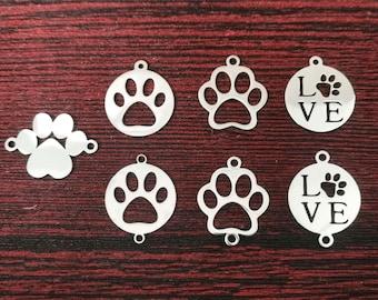 Bulk Dog Paw Connector Set, Dog Paw Charm, Stainless Steel Paw Print Connector, Paw Print Charm, Tiny Necklace Bracelet Connector co207