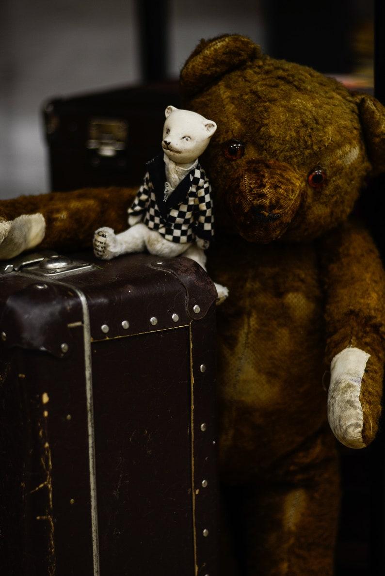 Stuffed Polar Bear Chess bear Teddy Bear teddy bear artist Stuffed teddy bear Porcelain toy