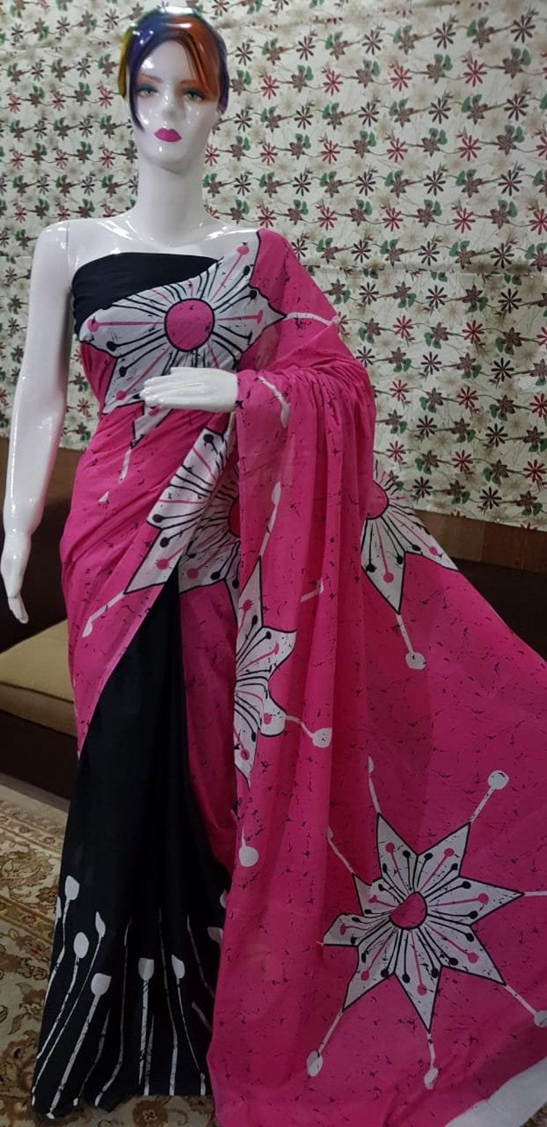 New Pure Cotton Handmade Sari Hastkala Printed Handblock Handmade Cotton Mulmul Saree Indian Clothing Dress Women Beautifull Woven Sari