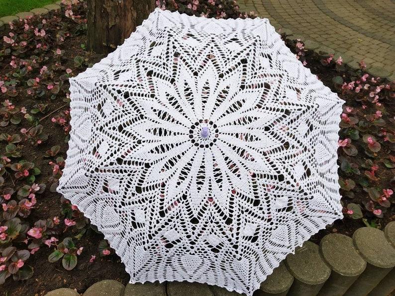 Crochet Umbrella -Bridal Romantic Victorian Photo Session Sunshade Summer Elegant Lace Natural Cotton Wedding White Parasole
