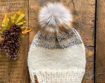 ADULT Chunky Faux Fur Pom Hat/Knitted Beanie/knit hat/Warm Winter Hat/Cute Women's Gift/Girlfriend Gift/