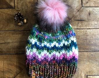 ADULT LUX Chunky Faux Fur Pom Hat/Knitted Beanie/knit hat/Warm Winter Hat/Cute Women's Gift/Girlfriend Gift/