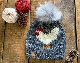 ADULT Chicken Chunky Faux Fur Pom Hat/Knitted Beanie/knit hat/Warm Winter Hat/Cute Women's Gift/Girlfriend Gift/ Farm gift/ Chicken beanie