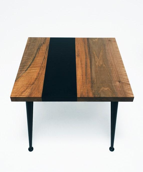 Walnut coffee table with black epoxy resin