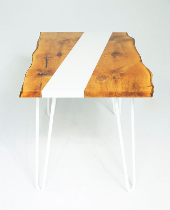 Yew Coffee Table With White Epoxy Resin