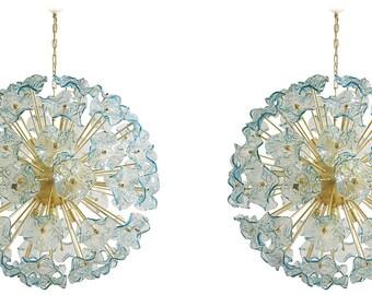 acquamarine murano glass sputnik flower chandelier
