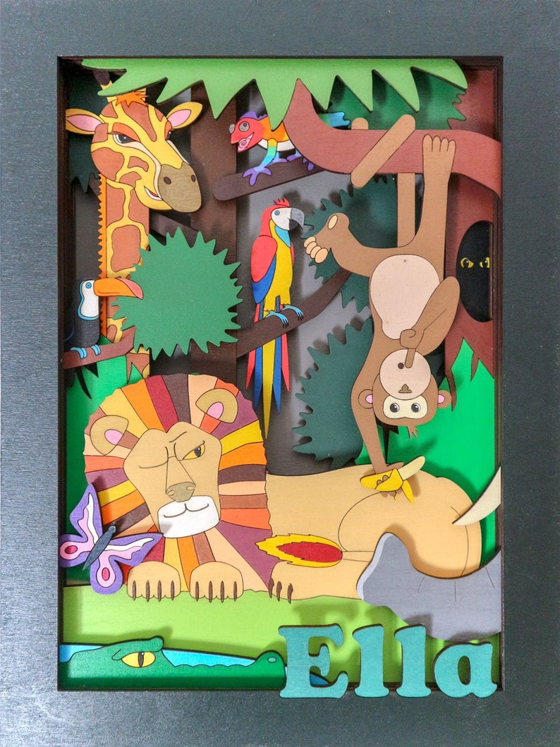 Jungle Animals 3d Wall Art Personalised Gift Hand Painted image 0