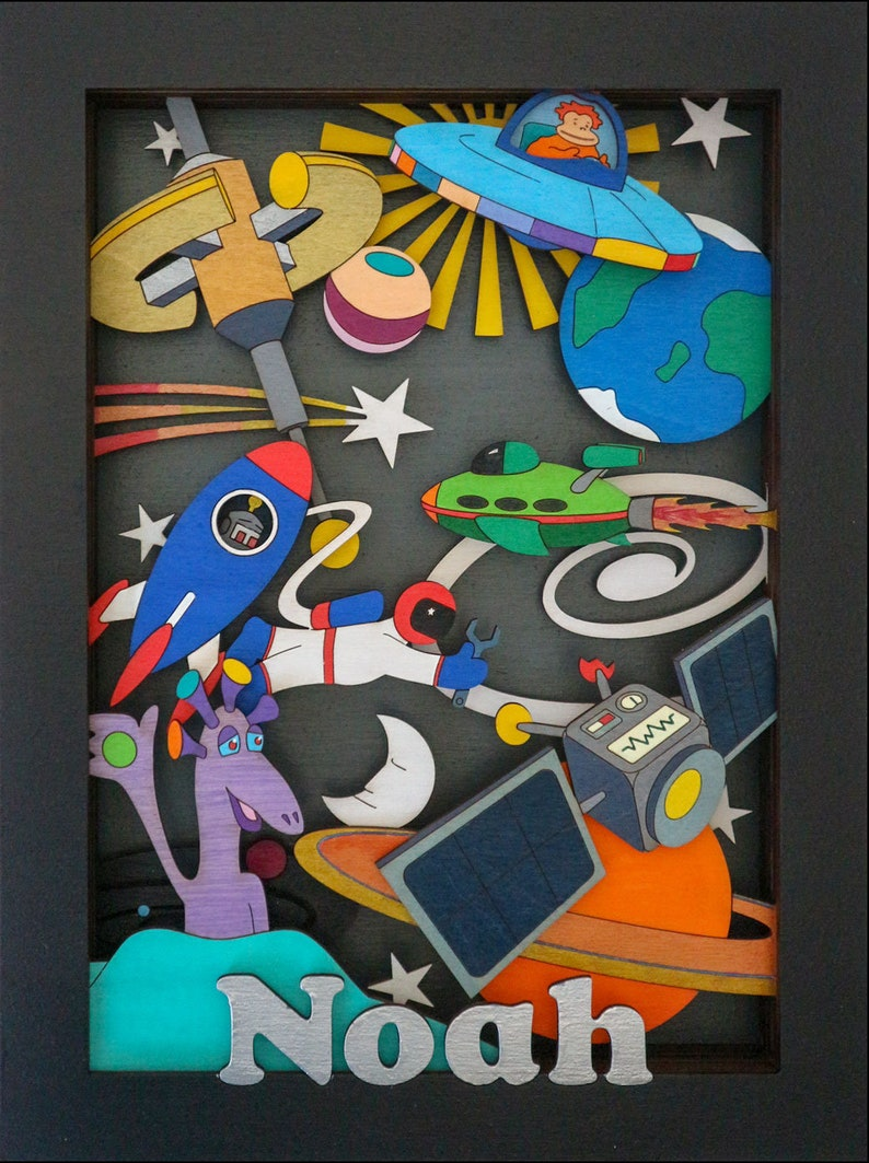 Outer Space 3d Wall Art Personalised Gift Hand Painted image 0