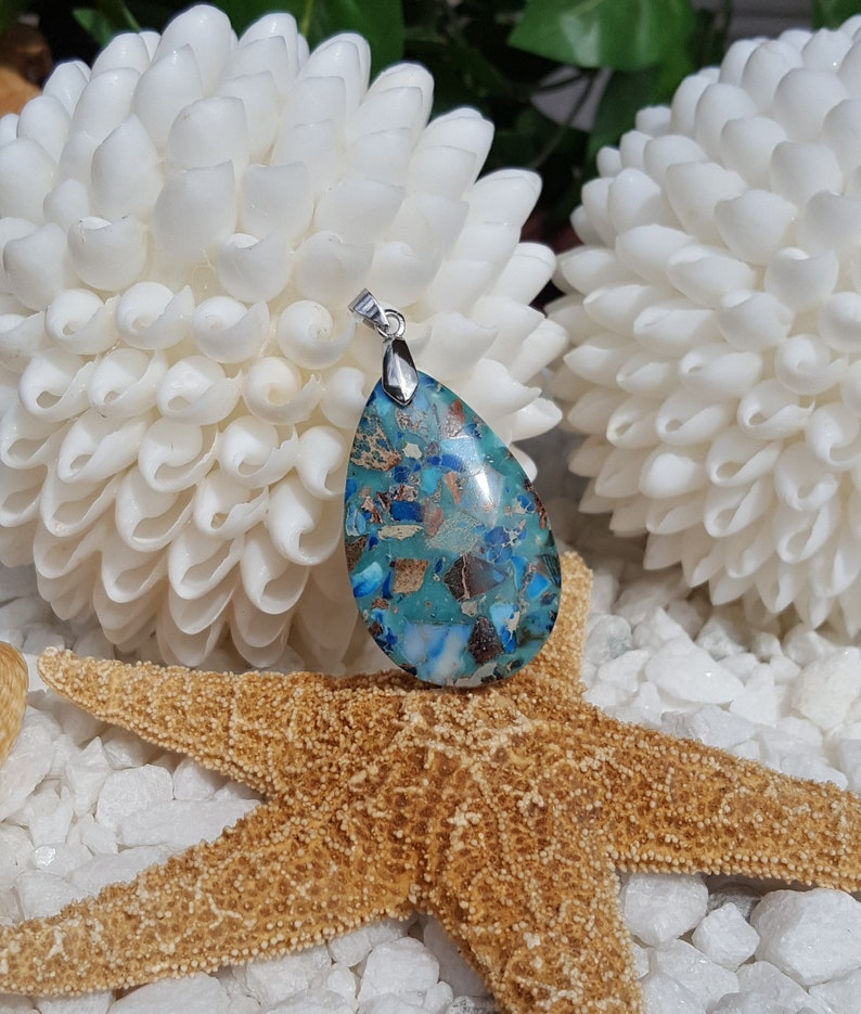 Turquoise coloed pendant Imperial jasper pendant Multi color pendant Blue sea sediment pendant Large focal bead Blue jasper pendant