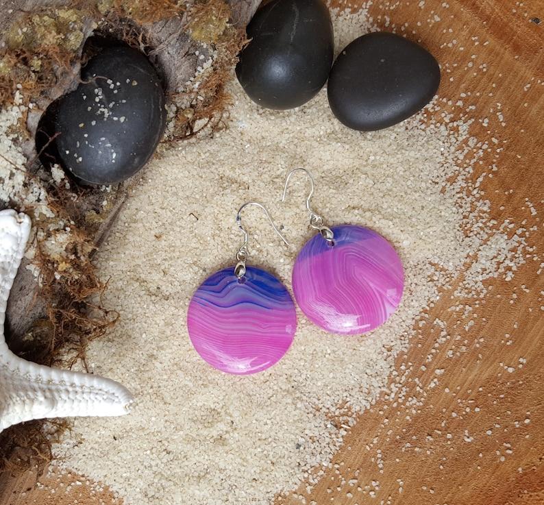 Pink purple banded gate Beaded earrings Gemstone earrings Agate earrings Disc earrings Gift for her Pink earrings