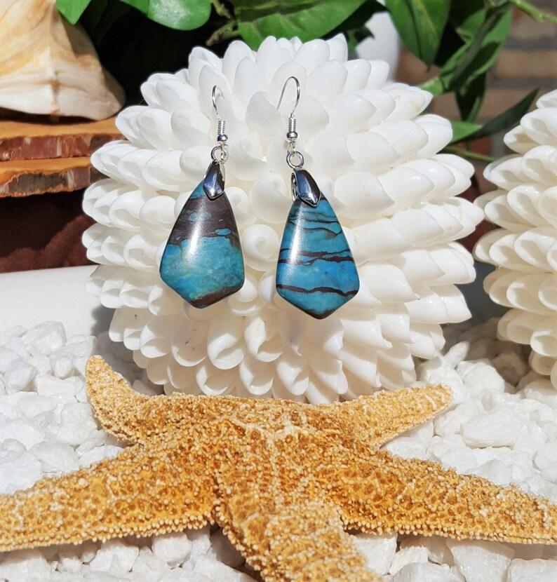 Blue zebra jasper earrings,Jasper earrings Turquoise earrings Boho earrings Blue dangle earrings Zebra jasper earrings