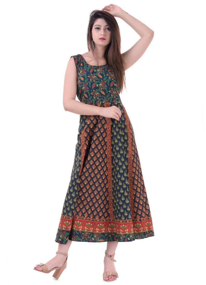 Indian Hamdmade Mandala Cotton Dress Mandala Print Hippie Long Dress For Girl/'s Fashion Frock Suit Multi Color Plus Size