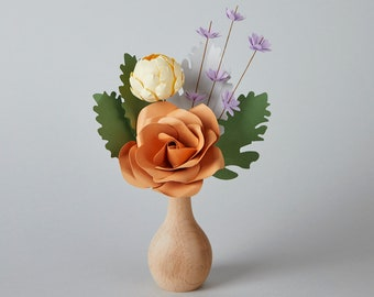 Caramel Rose Paper Flower Bouquet Wooden Vase, Artificial Flower, Mother's Day Flower Gift, Long lasting flowers, Best Friend Day, Miss You