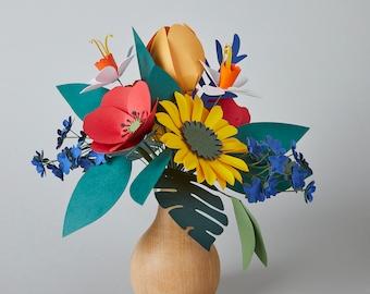 Wild flowers Big Paper Flower Bouquet, Paper Sunflower, Wood Vase, Martine Birthday Gift, Mother's Day Gift, Home Office Gift, Send Love