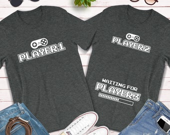 2ff10b0cc10de Player 1 Player 2 Waiting For Player 3 / Matching Couples Shirt / Baby  Announcement Shirt / Video Game Shirt / Gaming Lover Couples Gift