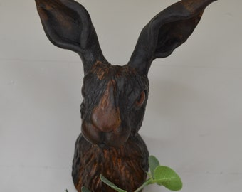 Faux Taxidermy Hare Wall Mounted Rabbit Animal Head Jack Rabbit Hare Trophy Handmade Textile Taxidermy Soft Sculpture Ms Hyacinth